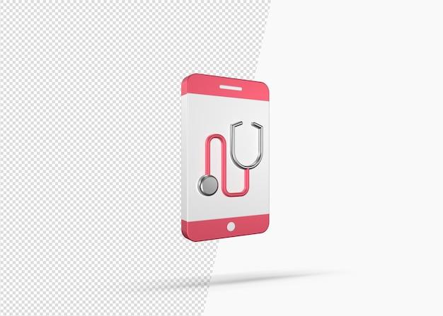 Concetto di app mobile medica isolato modello 3d