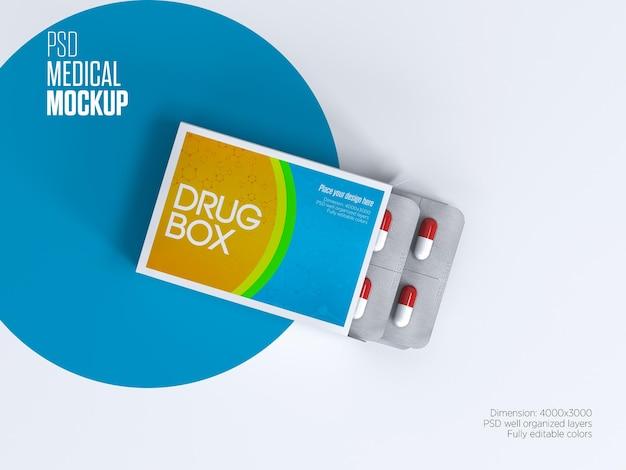Mockup di imballaggio della scatola del farmaco