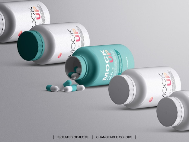 Mockup di contenitore di imballaggio in plastica bottiglia di medicina con capsule isolate