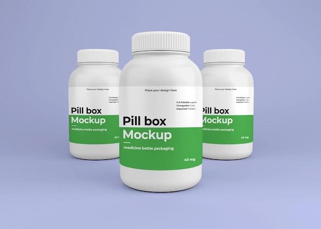 Mockup di bottiglia di pillola medica con il concetto di farmacia