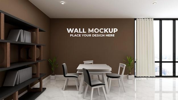 Sala riunioni con mockup di muro marrone