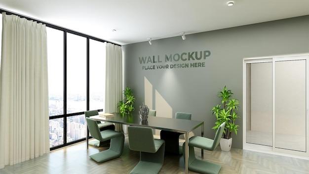 Il design del mockup del muro dello spazio riunioni