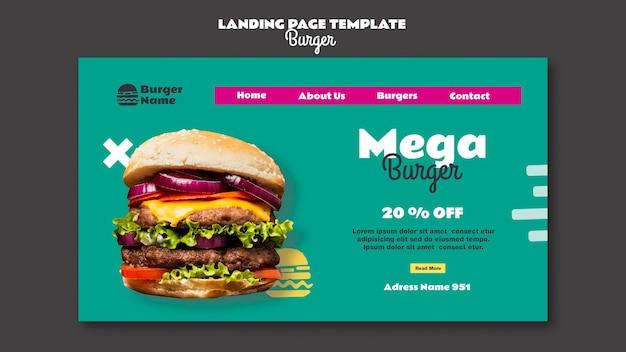 Modello web della pagina di destinazione dell'hamburger mega