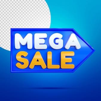 Mega sale 3d banner mockup isolato sull'azzurro