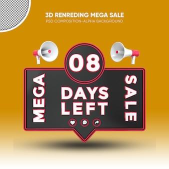 Mega vendita nero e rosso rendering 3d design su 08 giorni rimasti