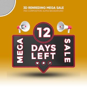 Mega vendita nero e rosso rendering 3d design su 12 giorni rimasti