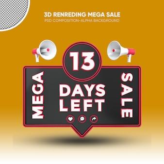 Mega vendita nero e rosso rendering 3d design su 13 giorni rimasti