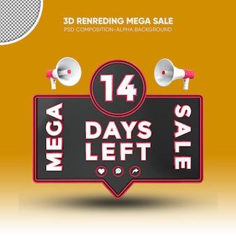 Mega vendita nero e rosso rendering 3d design su 14 giorni rimasti