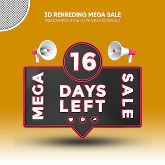 Mega vendita nero e rosso rendering 3d design su 16 giorni rimasti