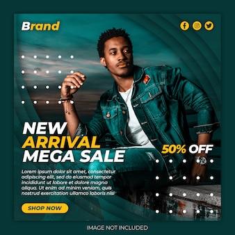 Modello di post di banner per social media mega vendita premium psd