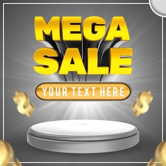 Mega vendita effetto testo modificabile shopping e offerta banner in stile testo
