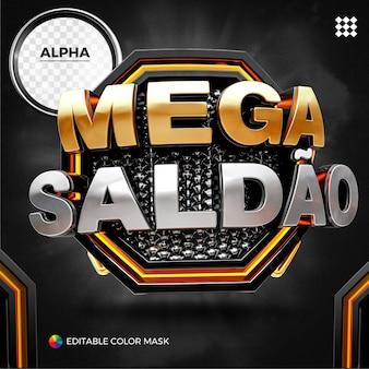 Mega vendita con rendering 3d al neon per la composizione