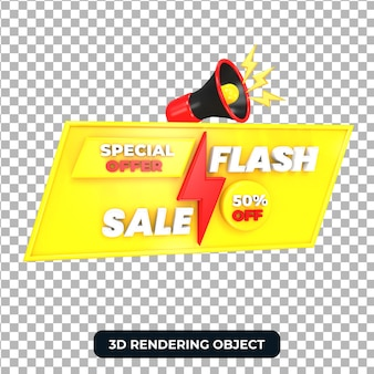Megafono con offerta speciale di vendita flash 3d render isolato