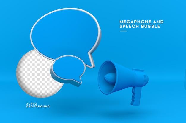 Megafono con rendering 3d fumetto