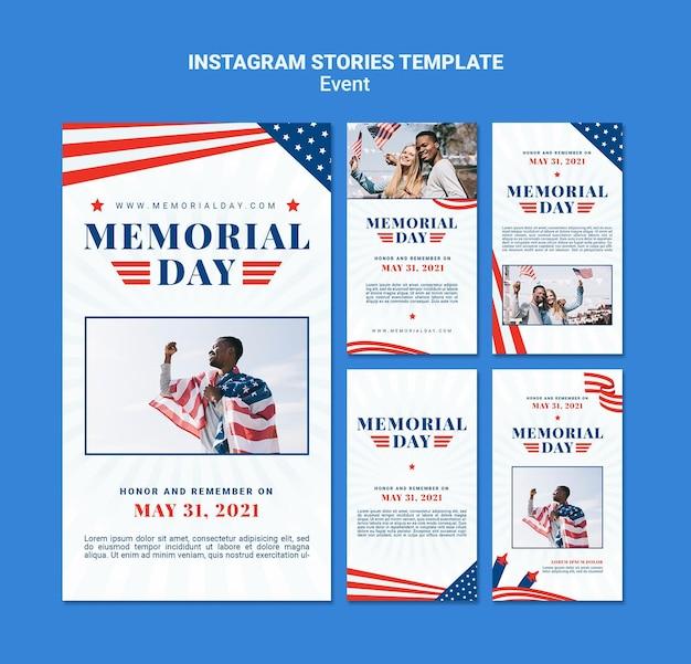 Modello di storie di instagram del memorial day