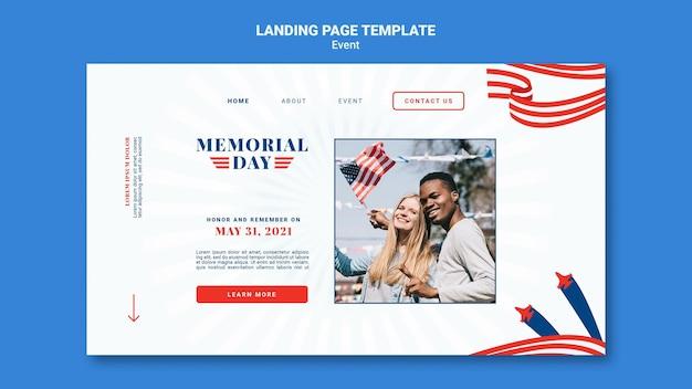 Modello di pagina di destinazione del memorial day