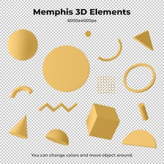 Elementi geometrici 3d di memphis isolati