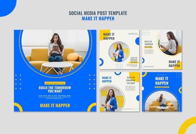 Modello di post sui social media di annunci aziendali di memphis