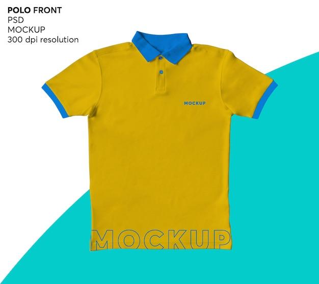 Mockup anteriore della camicia di polo degli uomini isolato