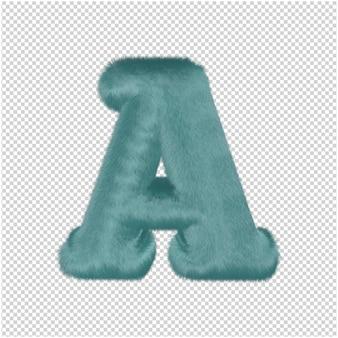 Rendering 3d di lettera di pelliccia di mentolo