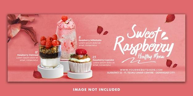 Modello di banner di copertina di menu facebook per la promozione del ristorante