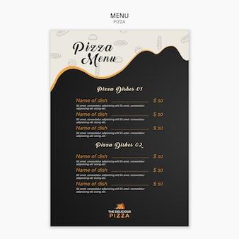 Modello di piatti pizza menu