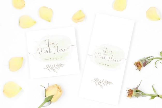 Menu e carta di ringraziamento su sfondo bianco