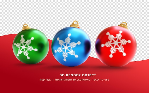 Palla ornamentale realistica di buon natale 3d
