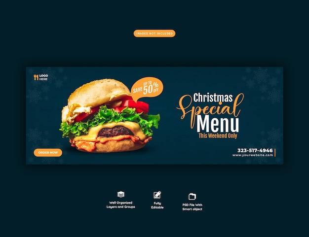 Buon natale delizioso hamburger e menu di cibo modello di copertina di facebook