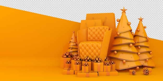 Buon natale e felice anno nuovo 3d rendering