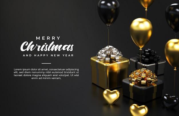 Modello di banner di buon natale e felice anno nuovo con scatole regalo e palloncini