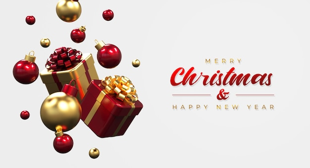 Modello di banner di buon natale e felice anno nuovo con scatole regalo e lampade