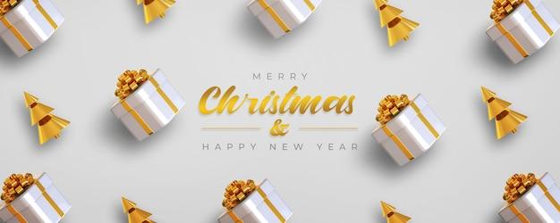 Modello di banner di buon natale e felice anno nuovo con scatole regalo e albero di pino