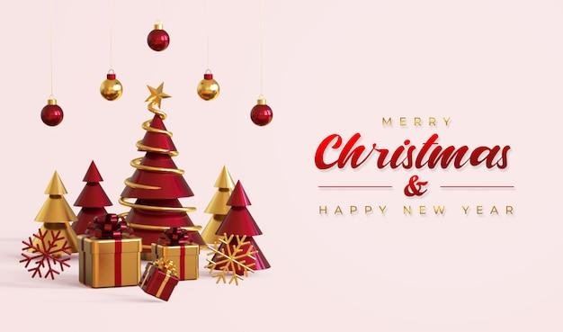 Modello di banner di buon natale e felice anno nuovo con albero di pino, scatole regalo e lampade a sospensione