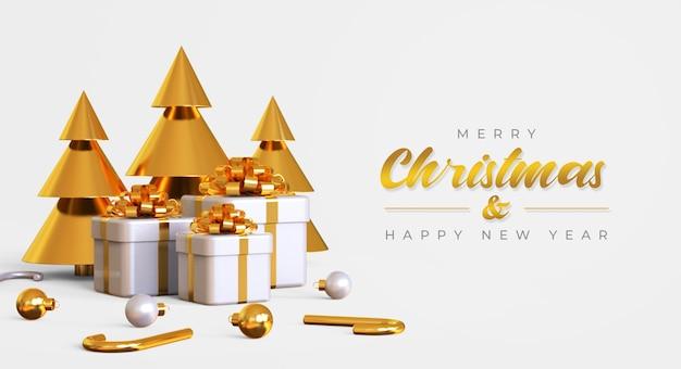 Modello di banner di buon natale e felice anno nuovo con albero di pino, scatole regalo e lampade