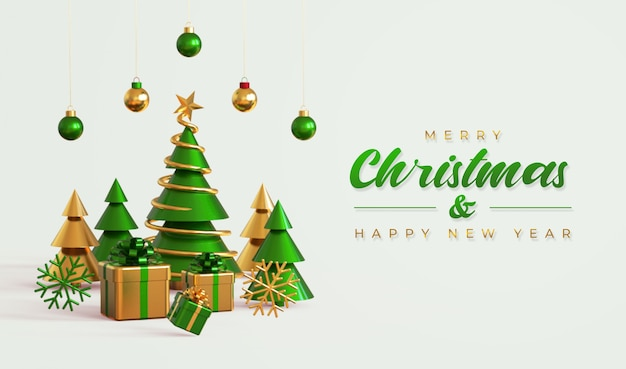 Modello della bandiera di buon natale e felice anno nuovo con albero di pino, scatole regalo