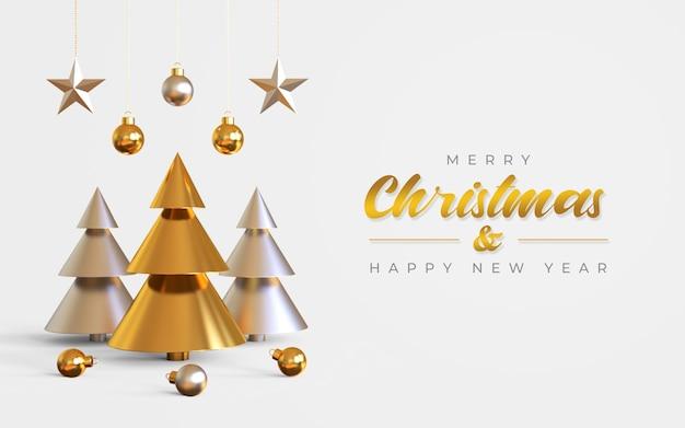 Modello di banner di buon natale e felice anno nuovo con albero di pino, lampade a sospensione e stelle