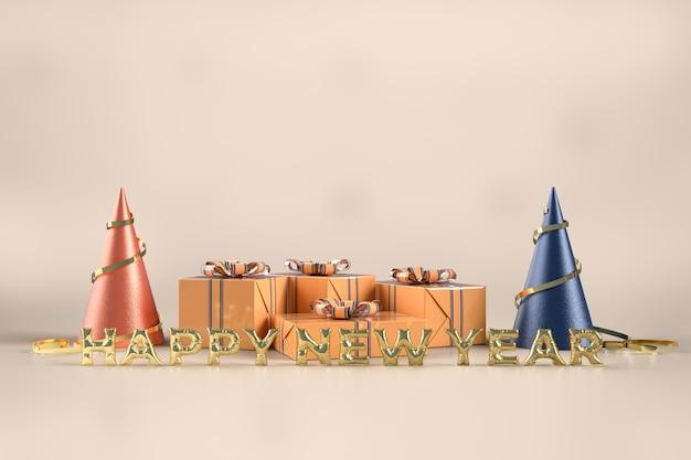 Festa di celebrazione di buon natale e felice anno nuovo con decorazioni di scatole regalo Psd Premium