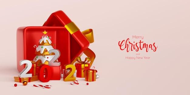 Buon natale e felice anno nuovo, albero di natale in confezione regalo con ornamento natalizio, illustrazione 3d