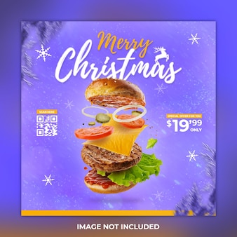 Buon natale social media post cibo e hamburger