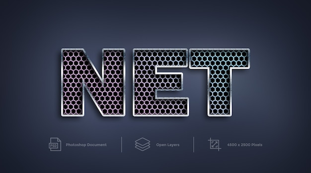 Mesh net text effect design effetto stile strato di photoshop