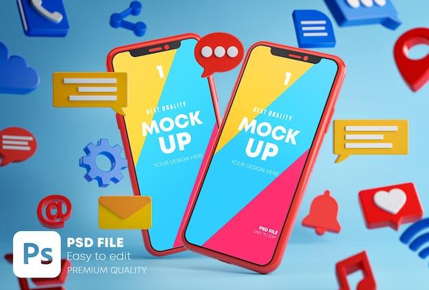 Concetto di app di conversazione di messaggistica di social media mockup nel rendering 3d
