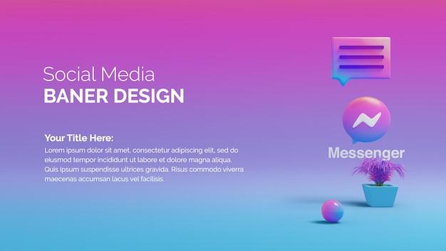 Messenger circle button icon 3d su bakcgorund colorato