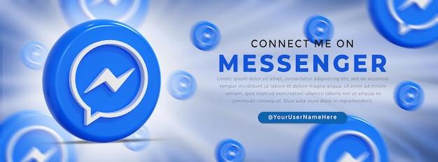Banner web con logo lucido messenger e icone social media