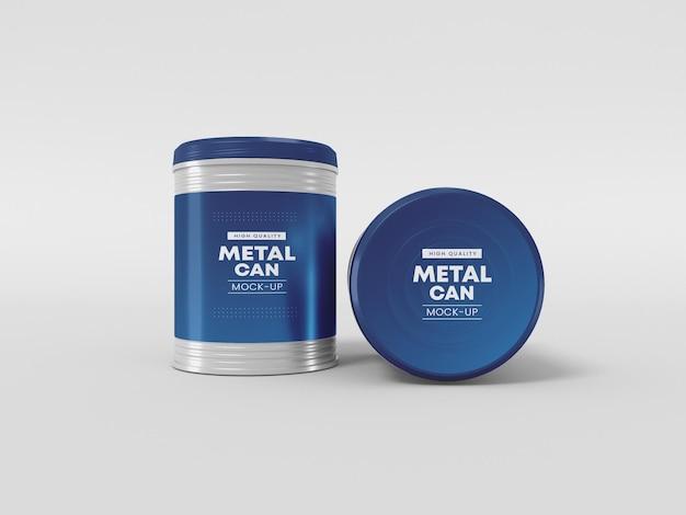 Mockup di imballaggio in lattina di metallo