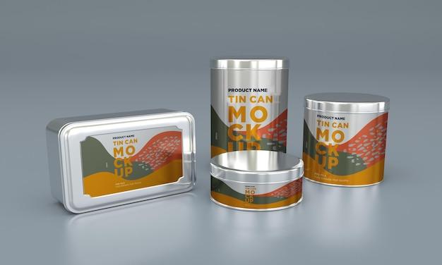 Mockup di imballaggio in latta per alimenti in metallo