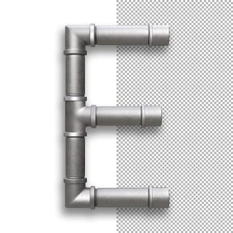 Tubo metallico, alfabeto e