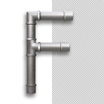 Tubo metallico, alfabeto f