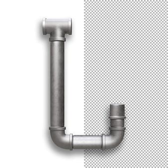 Tubo di metallo, alfabeto j