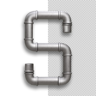 Tubo metallico, alfabeto s